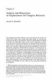 instinct and motivation as explanations for complex behavior