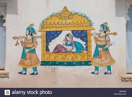 Dance Wall Murals Wall Painting Mural Udaipur Rajasthan Stock Photos Wall Painting