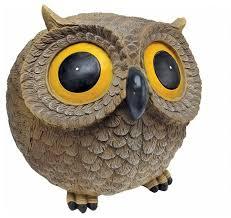 solar owl spot light statue colorful bird sculpture garden patio