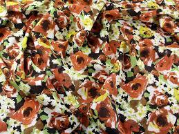 italian floral 100 linen dress fabric mv flora tan m ebay