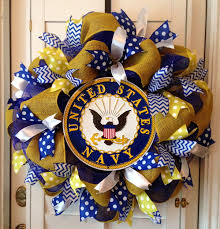 united states navy deco mesh wreath blue gold white my