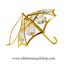 Swarovski Crystal Christmas Decorations this crystal and gold umbrella ornament is a perfect spring