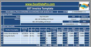 Bill Of Materials Excel Template The Gst Invoice Excel Template In Compliance With The