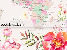 Printable World Map Printable World Map With Cities Pastel Florals Large 36x24