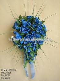 Artificial Flower Bouquets 2017hot Sale Artificial Flower Bouquet Pe Blue Rose With Mesh Pe