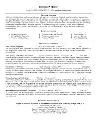 Technical Resume Objective Resume Objective For Maintenance Technician
