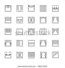 Different Types Of Window Blinds Vector Line Icons Drapes Window Covering Stock Vector 606717068