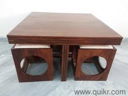 sheesham wood solid square table with brass fitted wooden kabard used home office furniture in noida home