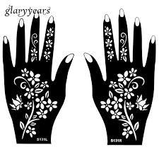1 pair indian henna tattoo stencil flower pattern design