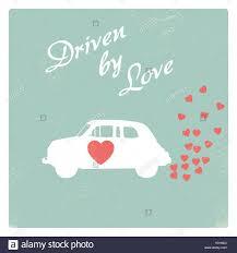 Design For Valentines Card Vintage Car Driven By Love Romantic Postcard Design For Valentine