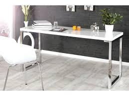 pieds de bureau design design blanc laquac et pieds en acier chromac luc 140 cm bureau