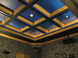 painted coffered ceiling with lighting house ceiling