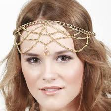 vintage forehead jewelry tassel indian chain exaggerated gold