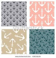 Wallpaper Nautical Theme - vector seamless pattern anchor steering wheel stock vector
