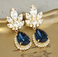 blue chandelier earrings blue navy chandelier earrings bridal navy blue earrings dangle