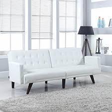 White Leather Sleeper Sofa Bonded Leather Futon Roselawnlutheran