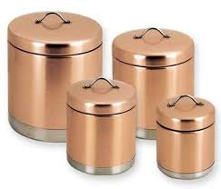 copper kitchen canister sets 4 copper metal canister set for a kitchen countertop home
