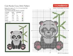 free cross stitch pattern cute panda tiny modernist cross