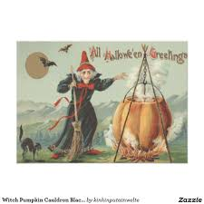 witch pumpkin cauldron black cat spell card black cats witches