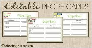 real food recipe cards diy editable the healthy honeys