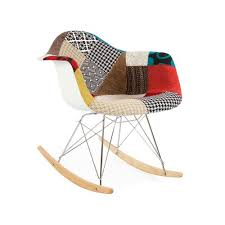 Eames Inspired Rocking Chair Modhaus Mid Century Modern Eames Style Rar Patchwork Fabric