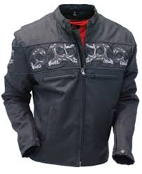 mc jacket heavy nylon skull jacket w ccw pocket u0026 reflector skulls mc1535rsk