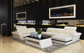 Modern White Bonded Leather Sectional Sofa Casa 5136 Modern White U0026 Black Bonded Leather Sectional Sofa