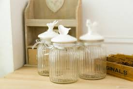 2017 big american country style glass jar with ceramic bird lid