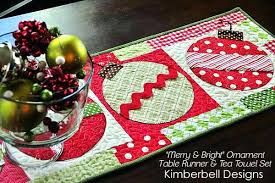 holiday table runner ideas christmas table runner merry and bright ornament table runner