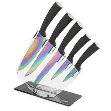 5 piece knife set with acrylic stand knives