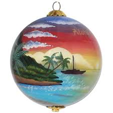 palm sunset hawaiian ornament by design