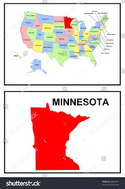 Minnesota United States Map by Full Color Map United States America Stock Illustration 28809775