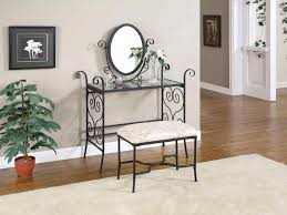 glass top vanity table bedroom small bedroom vanity designed with black iron materials and