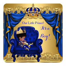 prince baby shower baby shower boy prince royal blue golden card zazzle