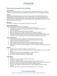 Resume Sample Tagalog Version by Pearson Campus Ambassador Job Description