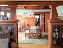 dining room craftsman style dishes with craftsman table and