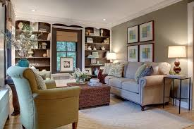 green gray brown family room transitional with built in strippable