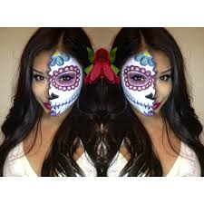 Half Skull Halloween Makeup by Dia De Los Muertos Day Of The Dead Mexican Sugar Skull