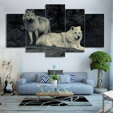 online buy wholesale wood wolf decoration from china wood wolf canvas hd printed poster home decor living room 5 panel woods animal wolves wall art painting
