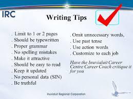 Resume 1 Or 2 Pages 1 Resume U0026 Cover Letter Workshop Inuvialuit Career Centre April