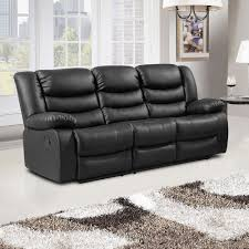 Armchairs Belfast Black Recliner Sofa Collection In Bonded Leather