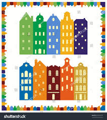 traditional european houses scandinavian cityscape skyline frame silhouettes traditional stock