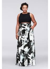 mock two piece plus size gown with printed skirt david u0027s bridal
