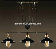 Pulley Island Light 3 Light Dark Natural Iron Pendant Nickel Mini Fixture Home