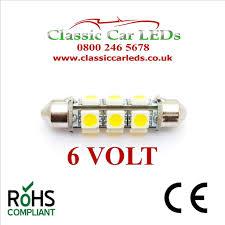 6 volt 6v 42mm festoon led bulb 5050 12 smd classic car motorbike