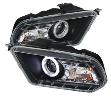 2012 Black Ford Mustang 2010 2012 Ford Mustang Ccfl Drl Led Black Projector Headlights