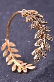 gold leaf bracelet images Laurel leaf gem cuff bracelet bangle cuff jpg