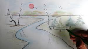 colour pencil art nature drawing of sketch