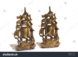brass bookends shape ancient sailing ships stock photo 9772690
