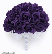 silk roses purple silk tie 36 roses silk bridal wedding bouquet